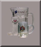 Beer mugs, boots, pitchers collection